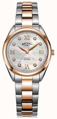 Rotary Dames henley | tweekleurige stalen armband | diamanten set wijzerplaat LB05112/41/D