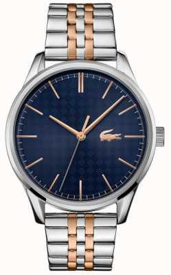 Lacoste Wenen voor heren | tweekleurige roestvrijstalen armband | blauwe wijzerplaat 2011048