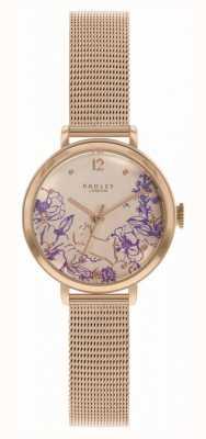 Radley | roségouden damesarmband | bloemenprint wijzerplaat RY4524