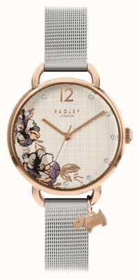 Radley | zilveren armband van mesh | wijzerplaat met bloemenprint | RY4525