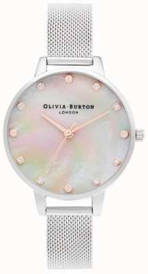 Olivia Burton | demi mop wijzerplaat met schroefdetail | zilveren mesh armband | OB16SE07
