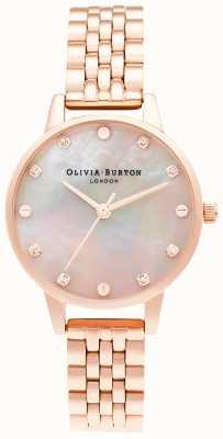 Olivia Burton | midi-mopwijzerplaat met schroefdetail | rosé gouden armband | OB16SE10