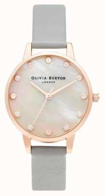 Olivia Burton midi-mopwijzerplaat met schroefdetail | grijs & roségoud | OB16SE12