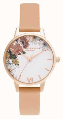 Olivia Burton schitteren bloemen | midi | rose goud | koraal riem | OB16BF30