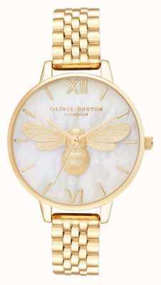 Olivia Burton Lucky bee parelmoer demi dial gouden armband OB16FB18