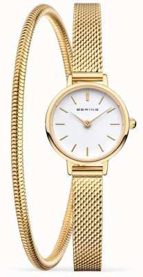 Bering Moederdag cadeauset | gouden gaas horloge en armband 11022-334