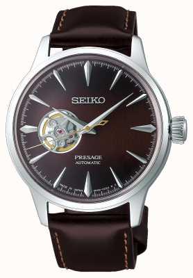 Seiko | presage dames mechanisch | bruine kalfsleer | bruine wijzerplaat SSA783J1
