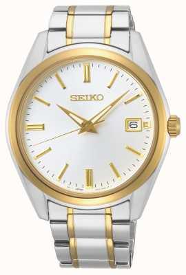Seiko conceptuele heren quartz | tweekleurige armband | zilveren wijzerplaat SUR312P1
