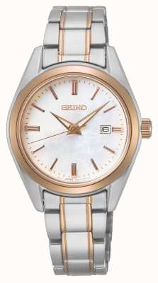 Seiko Conceptueel dameskwarts | tweekleurige stalen armband SUR634P1