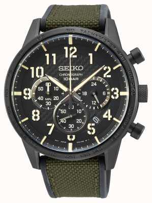 Seiko | conceptuele heren quartz | militaire groene band | zwarte wijzerplaat SSB369P1