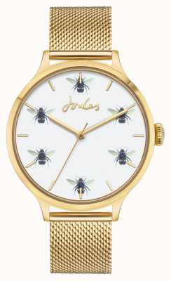 Joules Dames | gouden pvd mesh | witte bijen wijzerplaat JSL030GM