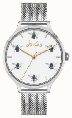 Joules Dames | roestvrijstalen gaas | witte bijen wijzerplaat JSL030SM