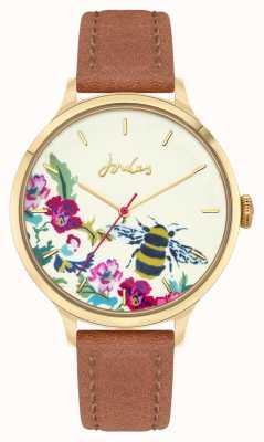Joules Dames | bruine leren band | bloemen bijen wijzerplaat JSL030TG