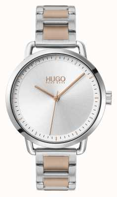 HUGO #zacht | tweekleurige stalen armband | zilveren wijzerplaat | 1540057