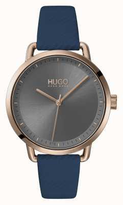 HUGO #zacht | blauwe leren band | grijze wijzerplaat | 1540054