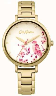Cath Kidston Gouden roestvrijstalen armband | bloemen vogel wijzerplaat CKL099GM