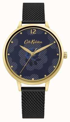 Cath Kidston Zwarte mesh band | blauwe bloemen wijzerplaat CKL095GBM