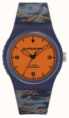 Superdry Oranje wijzerplaat | marine / oranje siliconen band | SYG296UO