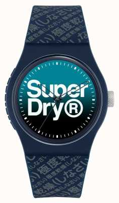 Superdry Blauwe vervaagde wijzerplaat | marine siliconen band | SYG302U