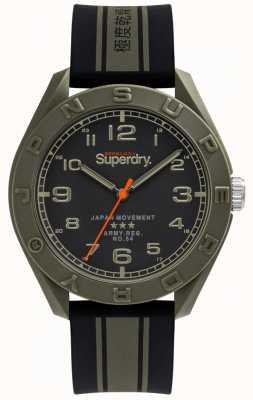 Superdry | osaka | zwart / kaki rubberen band | zwarte wijzerplaat | SYG305NB