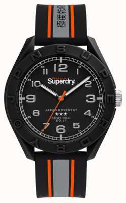 Superdry Mat zwarte wijzerplaat | zwart / grijs / oranje band | SYG305EB