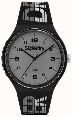 Superdry | urban xl racing | zwarte siliconen band | grijze wijzerplaat | SYG269BE