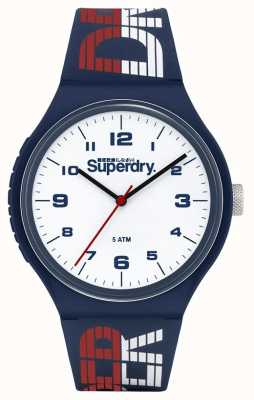 Superdry Blauw / wit / rood siliconen bandje | witte wijzerplaat | SYG269UW
