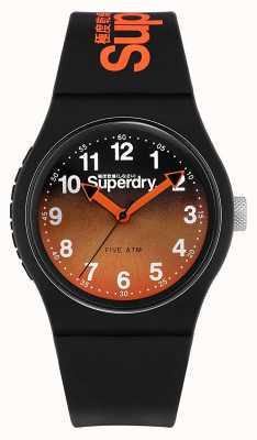 Superdry | zwarte siliconen band | zwart / oranje tweekleurige wijzerplaat | SYG198BO