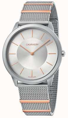 Calvin Klein | minimaal | stalen gaas armband | zilveren wijzerplaat | K3M511Y6