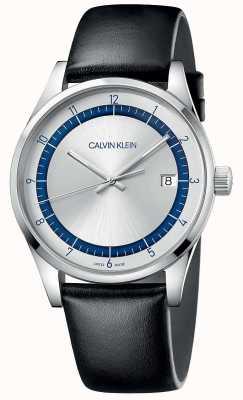 Calvin Klein | voltooiing | zwarte lederen band | zilver / blauwe wijzerplaat | KAM211C6