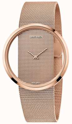 Calvin Klein | glam | roségouden pvd vergulde armband | rosé gouden wijzerplaat K942362A