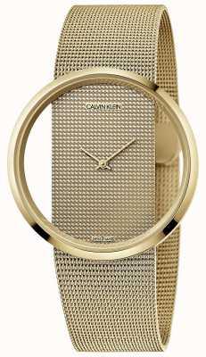 Calvin Klein glamour | goud pvd vergulde stalen mesh armband | gouden wijzerplaat | K9423Y29