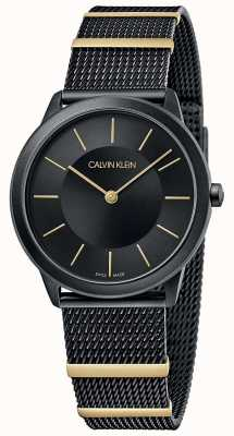 Calvin Klein | minimaal | zwarte mesh armband | zwarte wijzerplaat | 35mm K3M524Z1