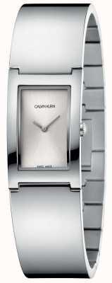 Calvin Klein | polijsten | roestvrij stalen armband | zilveren rechthoek wijzerplaat K9C2N116