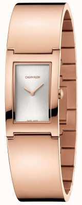 Calvin Klein | polijsten | rosé vergulde stalen armband | zilveren wijzerplaat | K9C2N616