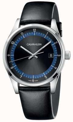 Calvin Klein | voltooiing | zwarte lederen armband | zwarte / blauwe wijzerplaat | KAM211C1