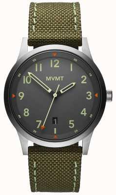 MVMT Heren | veld | groene canvas riem | grijze wijzerplaat 28000014-D