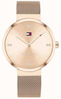 Tommy Hilfiger Vrijheid | roségouden mesh armband | rose gouden wijzerplaat 1782218
