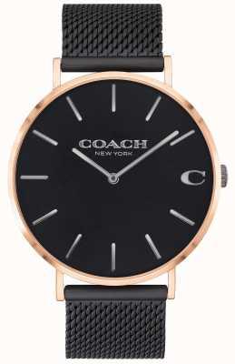 Coach | Charles voor heren zwarte mesh armband | zwarte wijzerplaat | 14602470
