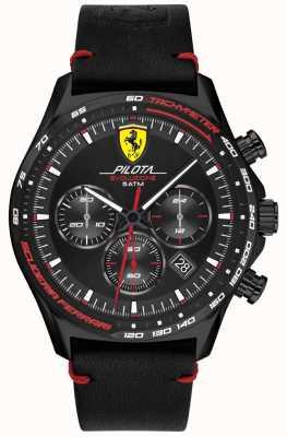 Scuderia Ferrari | heren pilota evo | zwarte lederen band | zwarte wijzerplaat 0830712