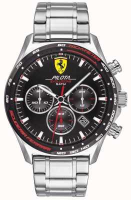 Scuderia Ferrari | heren pilota evo | roestvrij stalen armband | zwarte wijzerplaat | 0830714