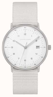 Junghans Max bill damen | witte nylon riem | witte wijzerplaat 047/4050.04