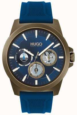 HUGO #twist | blauwe rubberen band | blauwe wijzerplaat 1530130