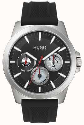 HUGO #twist | zwarte rubberen band | zwarte wijzerplaat | 1530129