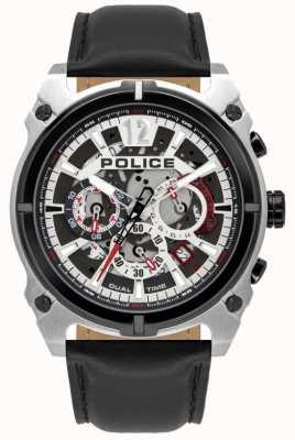 Police Heren antrim | chronograaf | zwarte leren band 16020JSTB/04