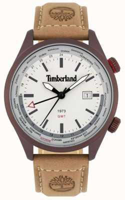 Timberland Heren | malden | gmt | bruine leren band | crème wijzerplaat 15942JSBN/13