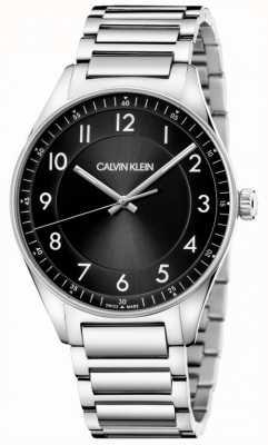 Calvin Klein | helder | roestvrij stalen armband | zwarte wijzerplaat KBH21141