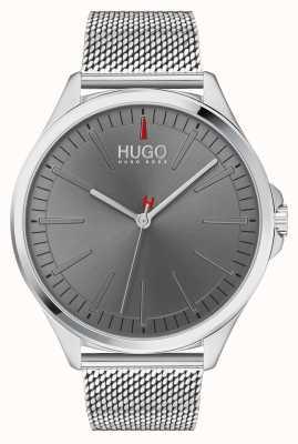 HUGO #smash | zilveren mesh armband | grijze wijzerplaat | 1530135