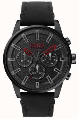 HUGO | #seek | zwart leren armband | zwarte wijzerplaat | 1530149