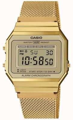 Casio | collectie | stalen mesh armband | digitale wijzerplaat A700WEMG-9AEF